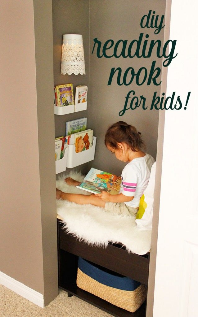 Kids Reading Nook added to a closet