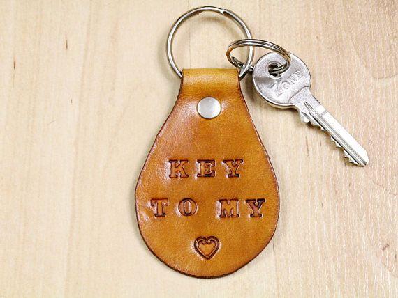 Handmade Key To My Heart Keyring, Leather Keyring, Handmade Keyring, Romantic Gift. Repin To Remember. #keytomyheart, #iloveyou, #leatherkeyring, #handmadekeyring, #leatherkeyfob, #leatherkeychain