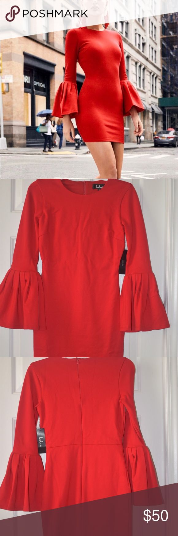 Lulus double flare red long sleeve bodycon dress BRAND NEW WITH TAGS Bodycon dress Size S Lulu's Dresses Long Sleeve #bodycondresslongsleeve