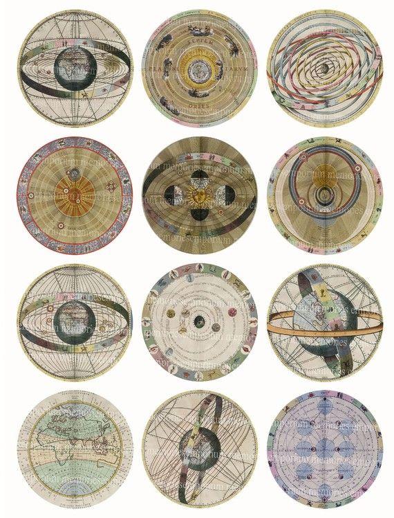 Star maps Antique Celestial circles, Astronomical Charts