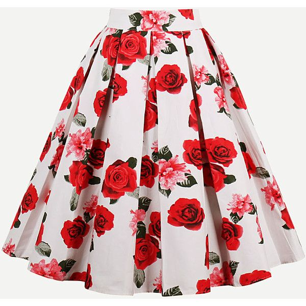 SheIn(sheinside) All Over Rose Print Box Pleated Skirt ($20) ❤ liked on Polyvore featuring skirts, rose print skirt, knee length skirts, red a line skirt, a line skirt and box pleat skirt