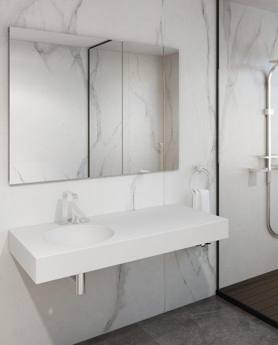 Doppelwaschtisch Aus DuPont Corian® In Glacier White Mit Zwei Fugenlos  Verklebten, Rechteckigen Becken Der