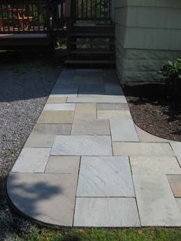Natural Stone Walkway To Home Entrance. Full Color Pattern Bluestone.  #naturalstone #bluestone