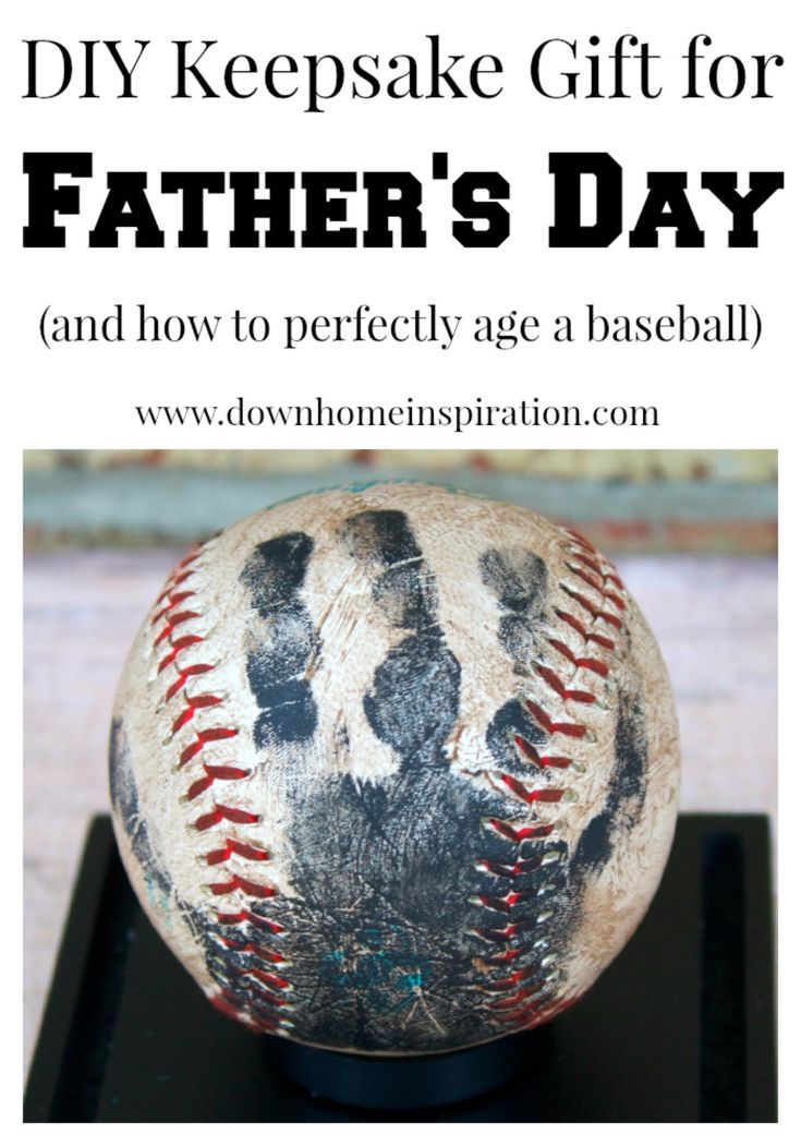 Handprint Baseball Keepsake - Perfect for Father's Day (and how to perfectly age a baseball) - Down Home Inspiration