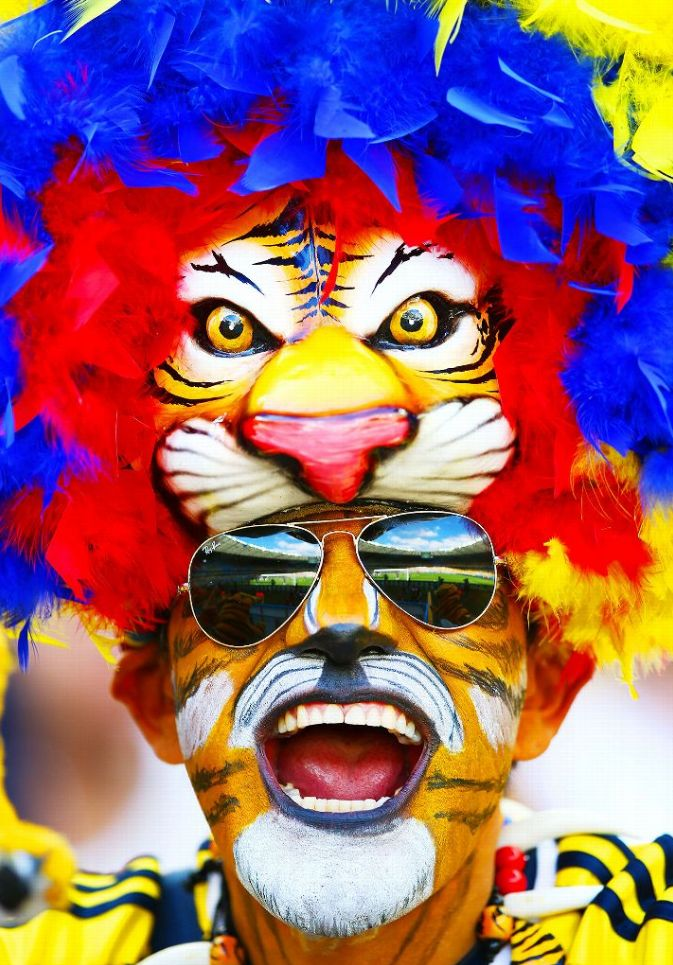 This Colombia fan is really channeling the eye of the tiger.