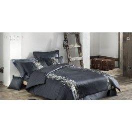 Lenjerie de pat de lux din bumbac satinat Issimo Dark Flora gri inchis 2 persoane