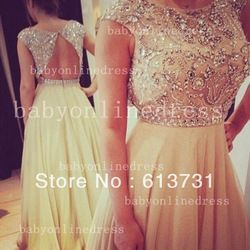 Online Shop Best Selling 2013 New Arrival High Collar Open Back Nude Chiffon Special Occasion Dress For Prom Party Evening BO3383  Aliexpress Mobile
