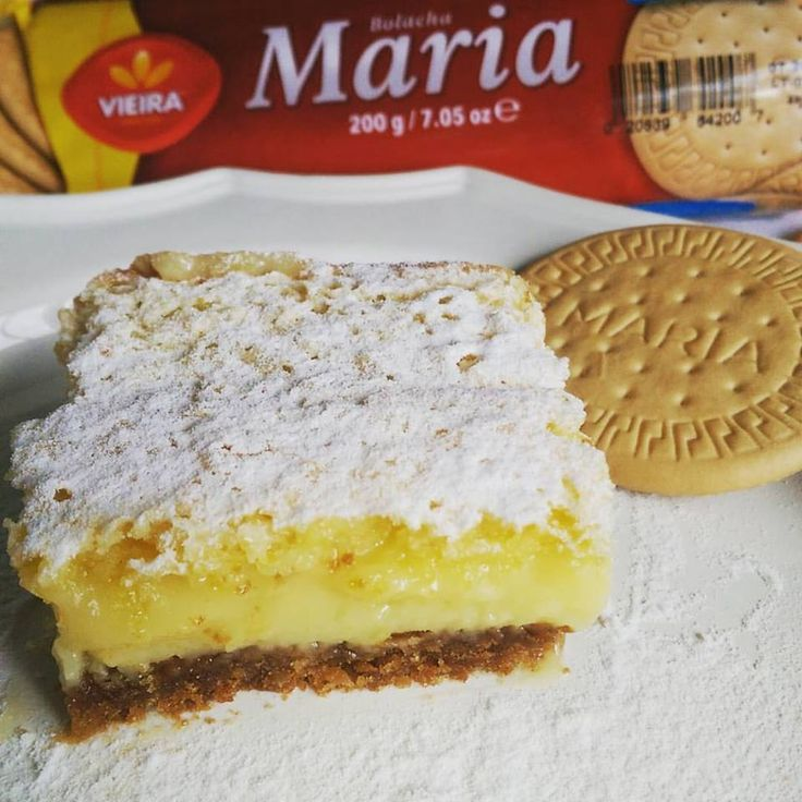 Lemon Bars with Maria cookie crust. Recipe from Tia Maria's blog