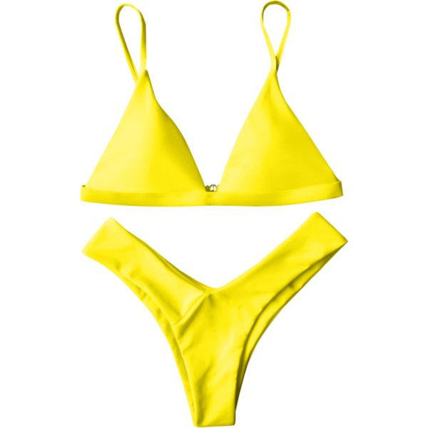 Soft Pad Spaghetti Straps Thong Bikini Set Yellow ($13) ❤ liked on Polyvore featuring intimates, panties, g string bikini, thong bikinis, string bikini and gstring bikini