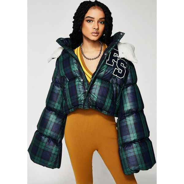 PUMA FENTY PUMA By Rihanna Cropped Hooded Puffer Jacket ($450) ❤ liked on Polyvore featuring outerwear, jackets, puma jackets, zipper jacket, cropped puffer jacket, oversized jackets and cropped jackets
