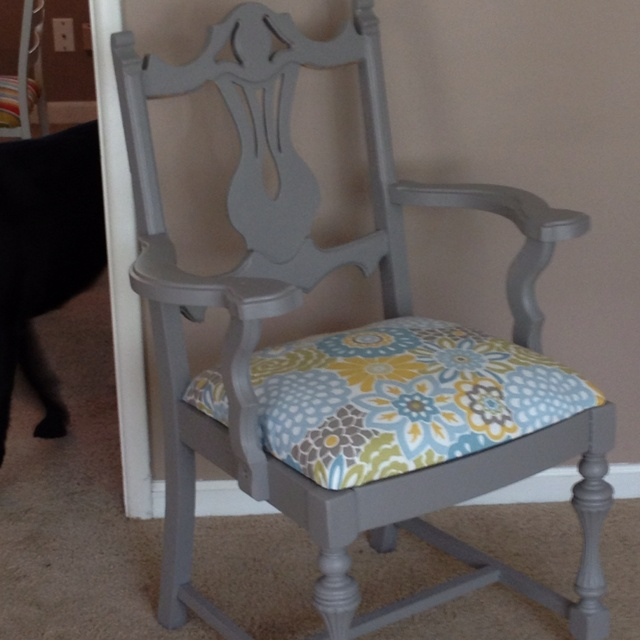 Refurbished Chair Painted And Upholstered Easy Cheap Clearly Adorable