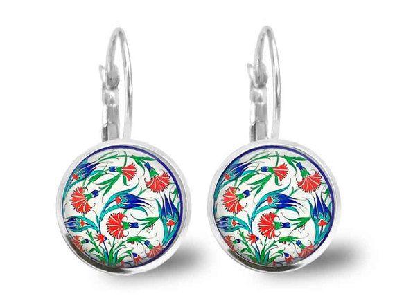 Iznik Earrings Turkish Pottery Earrings Turkish Design