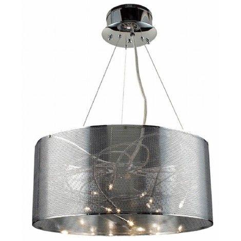 Royaume du Luminaire Luminaire suspendu par fils de fer avec abat-jour en grillage chrome avec tiges à l'intérieur.