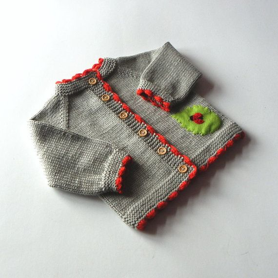 Ladybug baby sweater knitted baby spring jacket grey and red