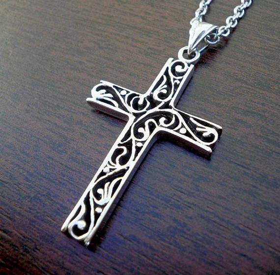 Sterling silver cross pendant Vintage cross pendant Silver