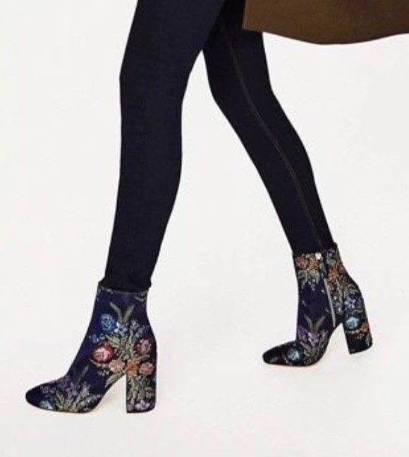 bd41803146afd ZARA New Navy Blue Floral Embroidered Ankle Boots 6.5 US 37 EU ...