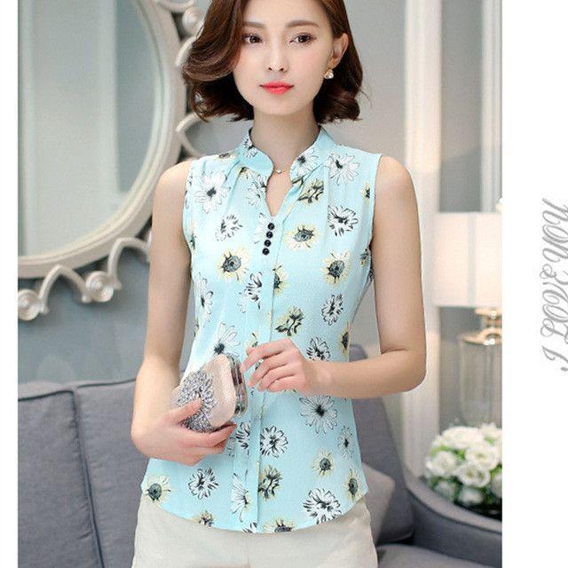 Chiffon Blouse Printed Sleeveless Blouse Floral Print Blouses Shirts Office Shirt