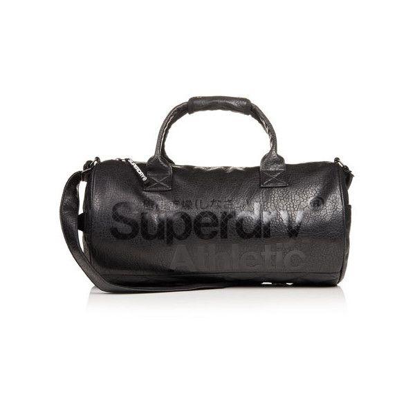 Superdry Athletic Barrel Bag ($80) ❤ liked on Polyvore featuring bags, handbags, shoulder bags, black, top handle handbags, black purse, top handle purses, pocket purse and black top handle handbag