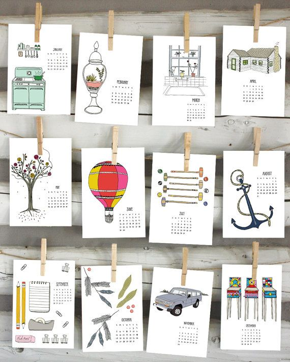 2014 calendar illustrated wall calendar by sloeginfizz on Etsy