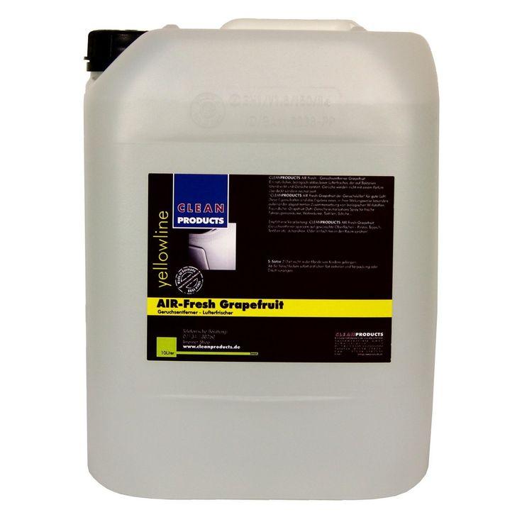 CLEANPRODUCTS Air-Fresh Grapefruit - 10 Liter  Ein natürlicher, biologisch abbaubarer Lufterfrischer, der unangenehme Gerüche schnell, nachhaltig und wirkungsvoll entfernt. Das 2 in 1-Spray kombiniert Geruchsneutralisierer mit Lufterfrischer und ist für Fahrzeug-Innenräume, Büros und Bekleidung geeignet.