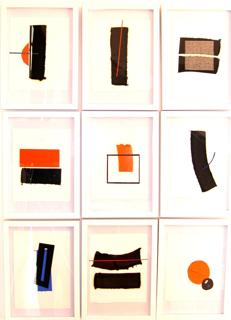 Mixed media: collage, lino and monoprint were used to create this wallscape of 9 individual works.
