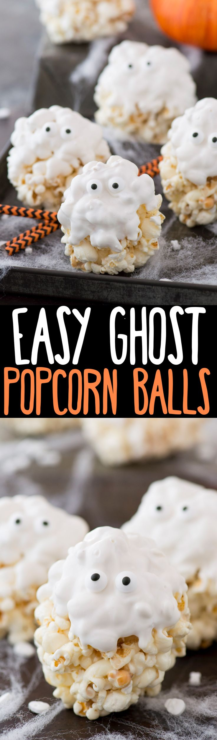 5 ingredient GHOST popcorn balls! Our family loved making this easy halloween treat!