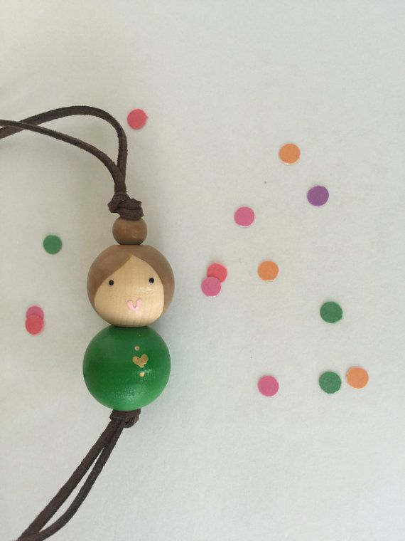 Wooden Bead Girlie Doll Necklace - MEG  aderringdo.etsy.com