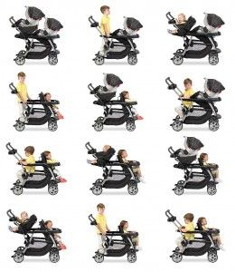 Graco Ready2grow Sit and Stand stroller offers 12 different riding options for two children from infant to toddler.
