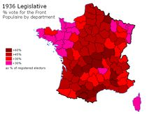 French legislative election,% vote for the Front Populaire in 1936