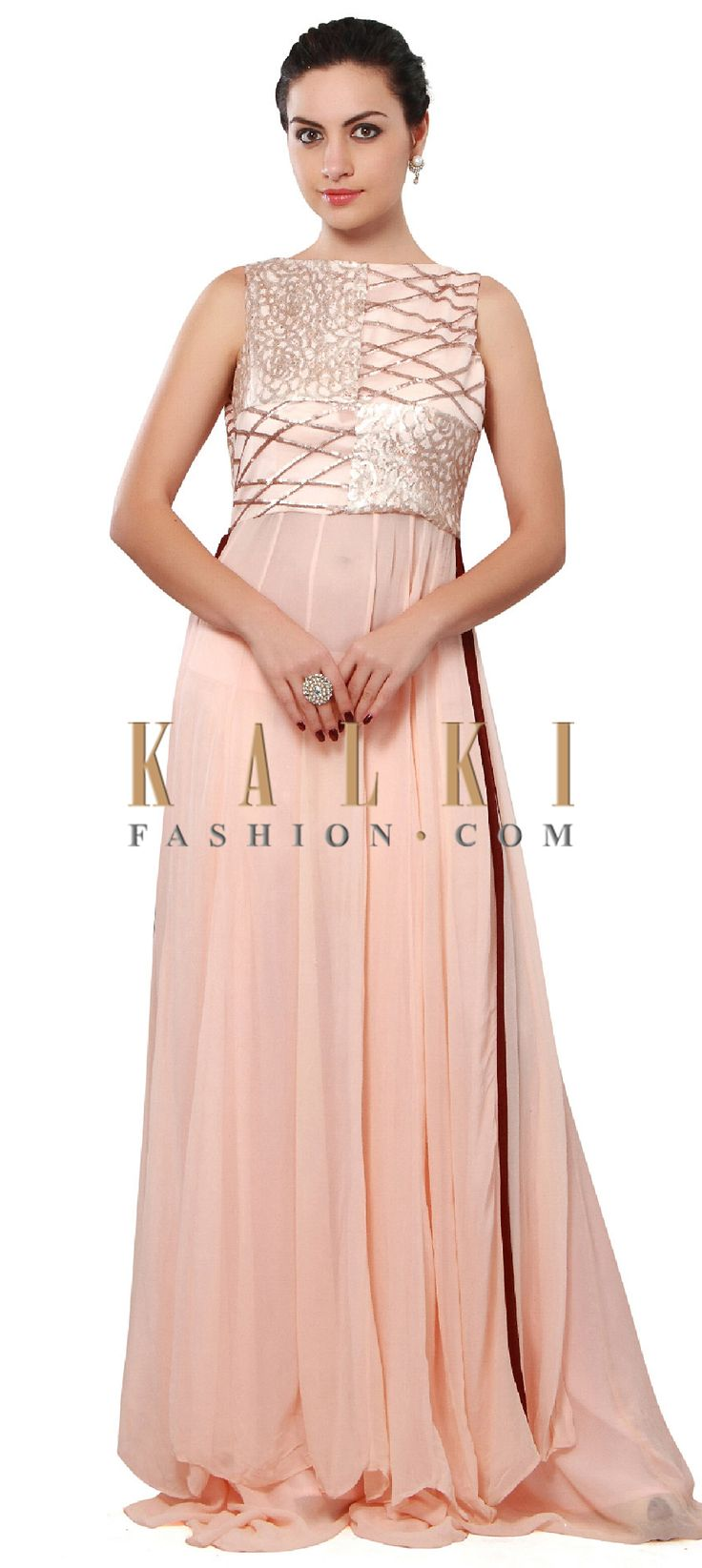 Buy Online from the link below. We ship worldwide (Free Shipping over US$100). Product SKU - 301229. Product Price - $309.00. Product link - http://www.kalkifashion.com/peach-suit-adorn-in-sequin-embellished-yoke-only-on-kalki.html