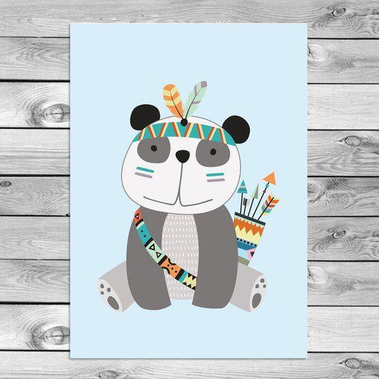 Panda - Kinderkamer poster - Babykamer - Indianen stijl - Tribal - Decoratie - A3 formaat - DesignClaud