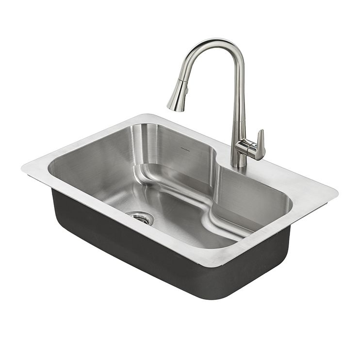 American Standard Raleigh 33-in x 22-in Stainless Steel Single-Basin Drop-in or Undermount 1-Hole Residential Kitchen Sink All-In-One Kit