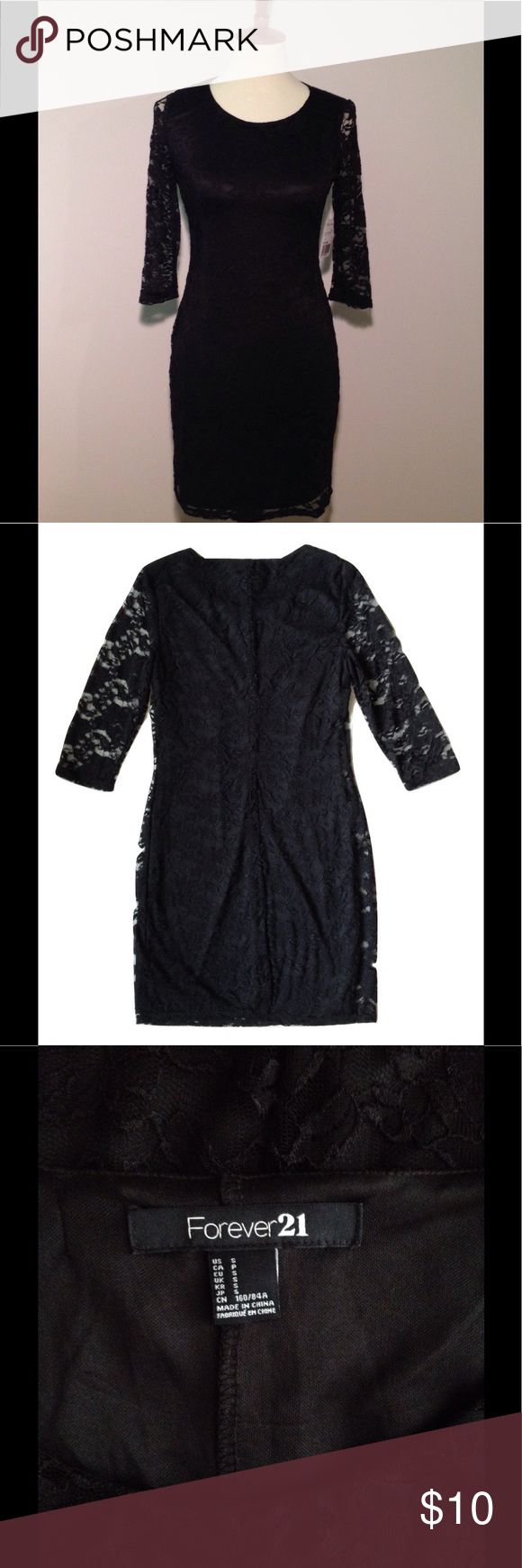 """Forever 21 little black lace dress Forever 21 little black lace dress NWT womens small. The lining is polyester. The lace over the lining is nylon/spandex. New with tags. Measurements: body length (down center of back): 32"""" underarm seam to underarm seam: 15"""" sleeve from shoulder seam: 15"""" shoulder seam to shoulder seam: 14"""" waist flat across: 14"""" Forever 21 Dresses Mini"""