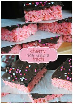 Delicious recipe for cherry Rice Krispie Treats -- might try strawberry. Perfect fun treat for valentines day.