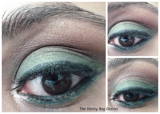 Today's post is featuring Green and Burgundy smokey eyes, perfect for fall in the other part of the world, but good for all year round as well :)..                        Products Used    Urban Decay eyeshadow in Bender as lid shade, marked as 1 in the pic  Covergirl burgundy shade as crease color, marked as 2 in