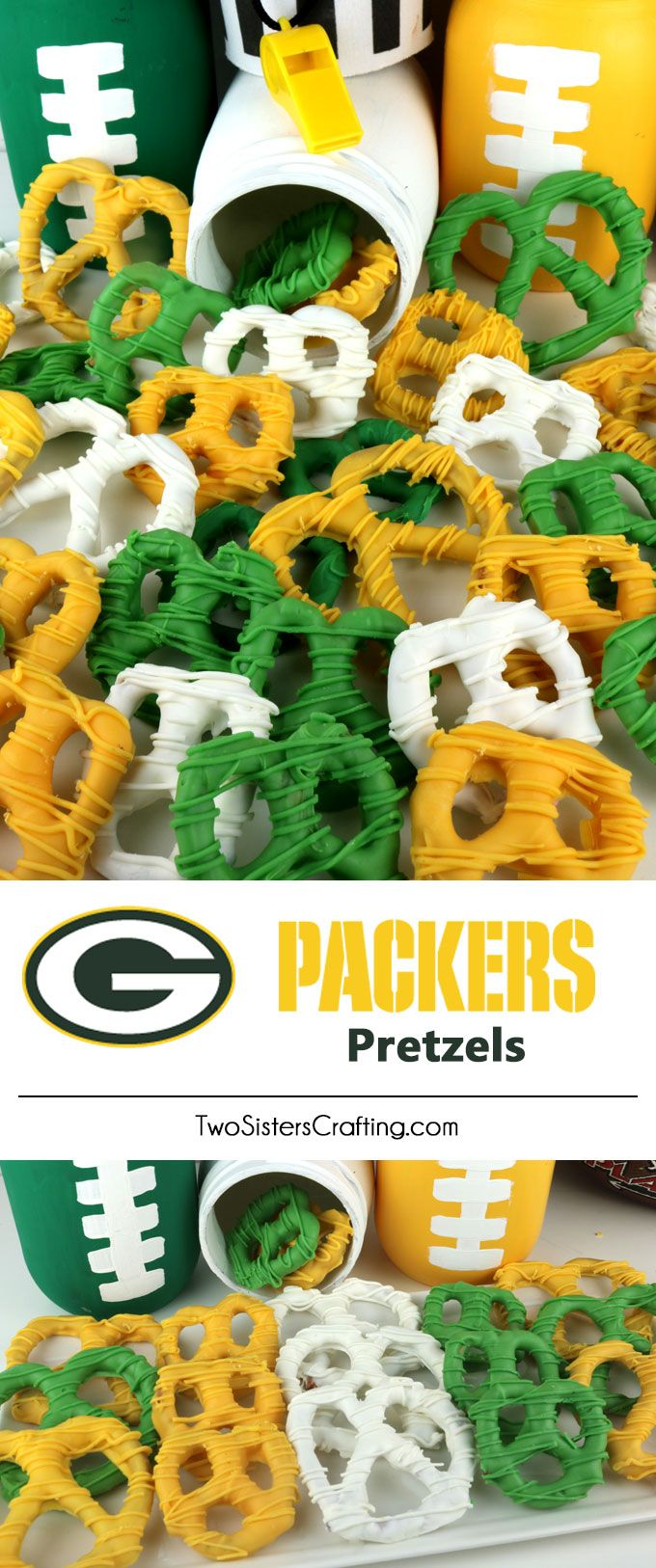 Green Bay Packers Pretzels - yummy bites of sweet and salty Football Game Day goodness that are super easy to make. They are perfect as a little extra treat at a NFL playoff party, a Super Bowl party or as a special dessert for the Green Bay Packers fan in your life. Follow us for more fun Super Bowl Food Ideas.