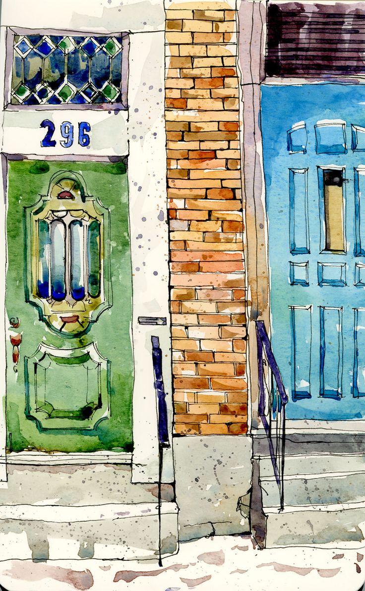 Between The Doors, Shari Blaukopf watercolour