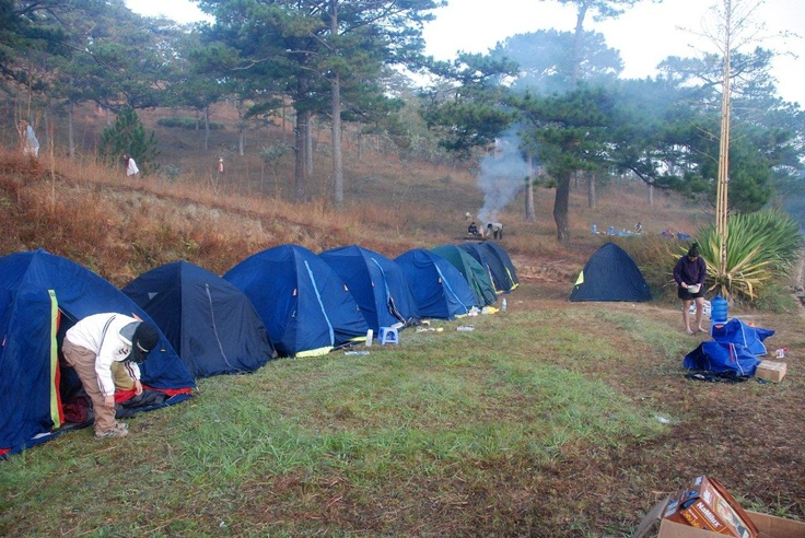 Camping and hiking in Dalat, Central Highlands of Vietnam