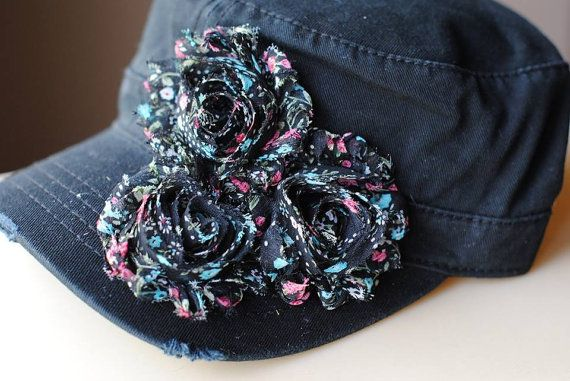 Black Shabby Chic Hat Cadet Womens cadet Black by Ebowsboutique, $26.00