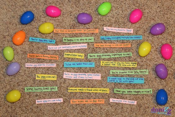 Fill easter eggs with cute easter love note sayings and hide them for your boyfriend to find!!!
