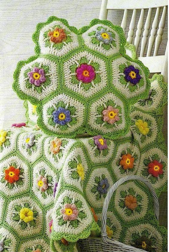 Vintage patrón de ganchillo para hacer una excelente abuela Plaza afgano manta y cojín almohada por A PDF para entrega inmediata Digital