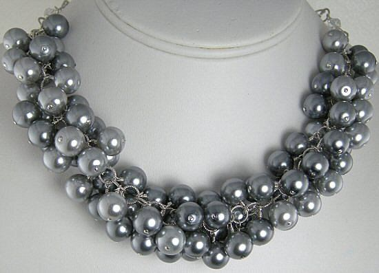 Grey Pearl Cluster Necklace  Silver and by TaliCreationsJewelry, $125.00