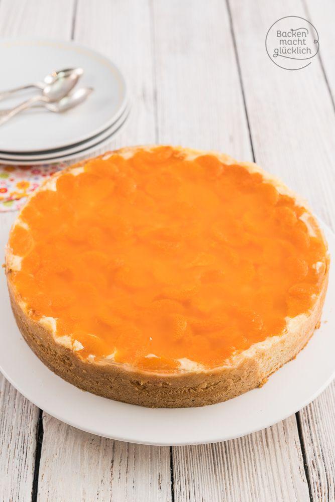 Mandarinen Schmand Torte - ein superleckerer cremiger Käsekuchen mit fruchtiger Deko