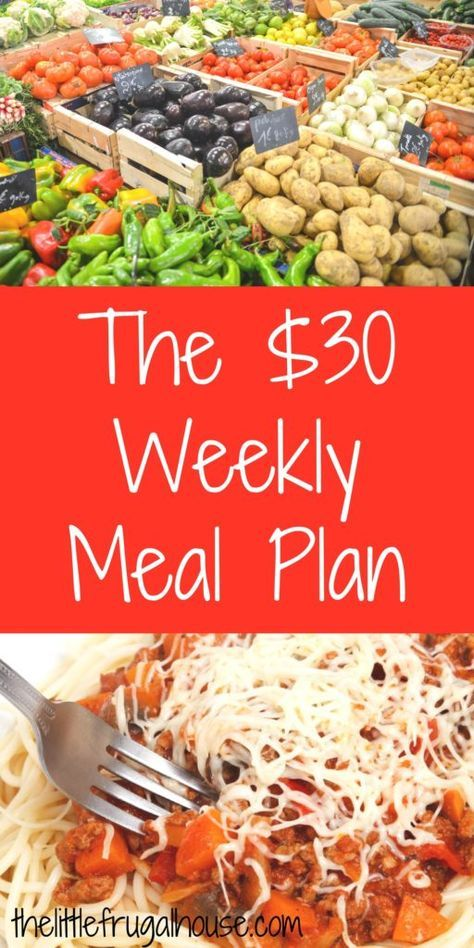 The $30 Weekly Meal Plan - Free Printable Aldi Shopping List & Menu - The Little Frugal House
