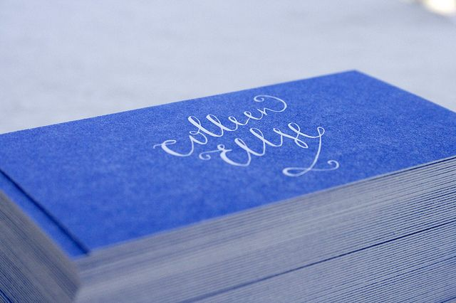 Blue letterpress calligraphy cards: Creative Business Cards, Inspiration, Beautiful Paper, Blue, Color, Businesscards Branding, Card Ideas, Letterpress Business Cards