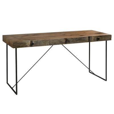 """Tip #10   Wood   Rustic wood blended with modern touches adds warmth and softens the overall industrial look created with more """"heavy duty"""" materials such as concrete, brick and metal   The Hendricks Wright desk from Barker & Stonehouse is crafted from sustainably harvested black walnut and demolition hardwood. The rustic desktop is supported by a minimalist metal frame."""