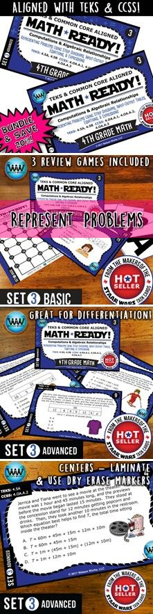 AVE 20% WHEN YOU PURCHASE THIS BUNDLE (includes both our Basic & Advanced MATH READY Representing Problems Using Strip Diagrams, Input-Output Tables, Equations, & Expressions Task Cards sets)! Both sets include 24 task cards w/ multiple choice answers. The BASIC set helps your students practice & apply their understanding of representing problems at a simpler, basic level with shorter questions, while the ADVANCED set features rigorous, higher-level thinking questions w/ longer word…