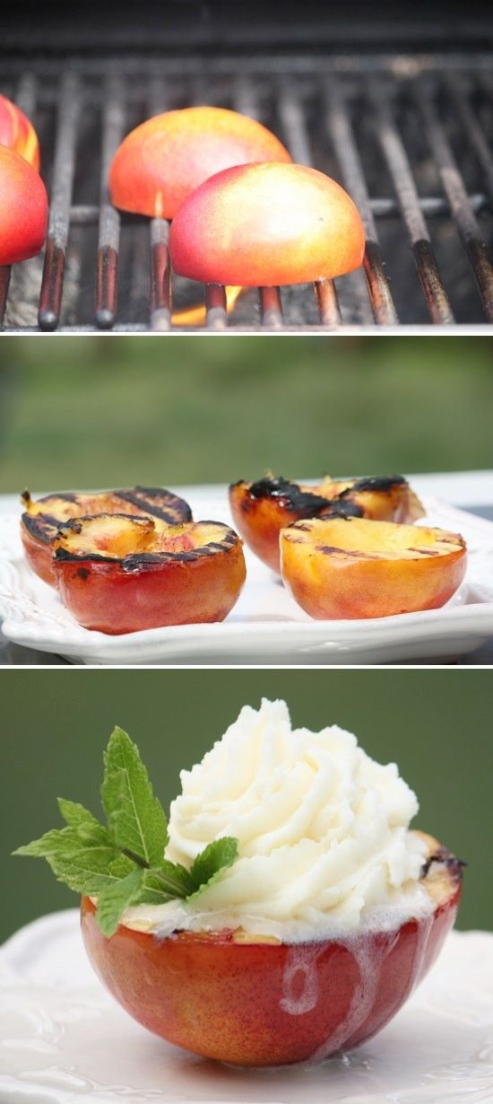 Grilled peaches with caramel and ice cream.
