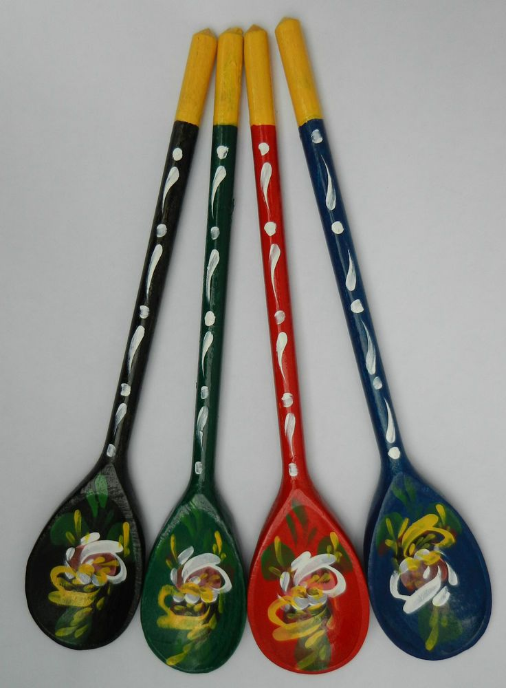 Details About Hand Painted Wooden Spoons Roses Amp Castles