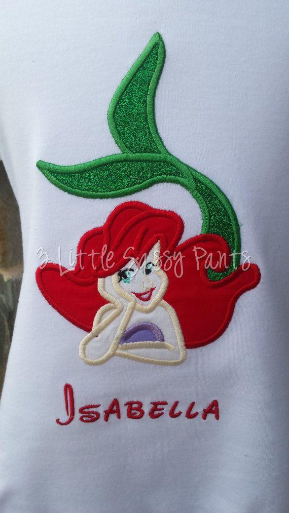 The Little Mermaid Shirt Ariel Applique Shirt by 3LittleSassyPants